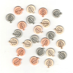 Dřev.dekorace barevné - lístky kulaté 2cm, 24ks
