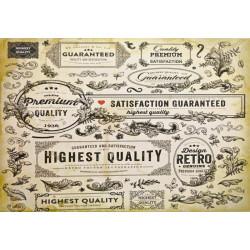 Karton 250g 24x34cm - Vintage štítky