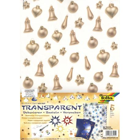 Sada Vánoční ozdoby - 5ks transp.papírů (F)