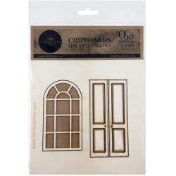 Okno, dveře - kartonové výřezy 2ks (ITD)