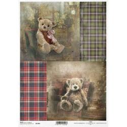 Papír rýžový A4 Skotský styl, obrázky s medvídky 2