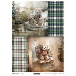 Papír rýžový A4 Skotský styl, obrázky s medvídky 1