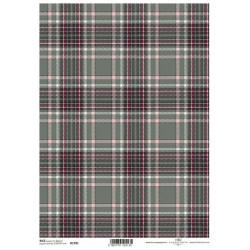 Papír rýžový A4 Skotský styl, káro khaki zelená