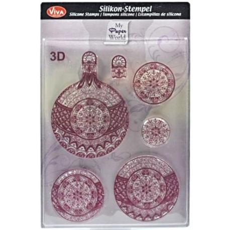 3D Razítka D32 Vánoční ozdoby s vločkou (F)
