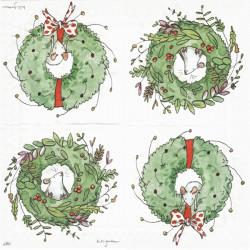 Myš ve vánočním věnci 25x25