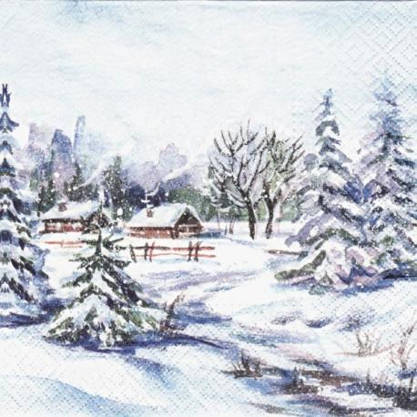 Zimní krajina s domky 33x33
