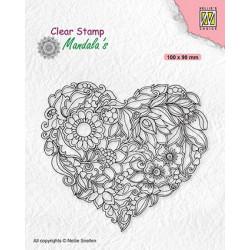 Transp.razítko Mandala´s - květinové srdce (Nellie´s Choice)