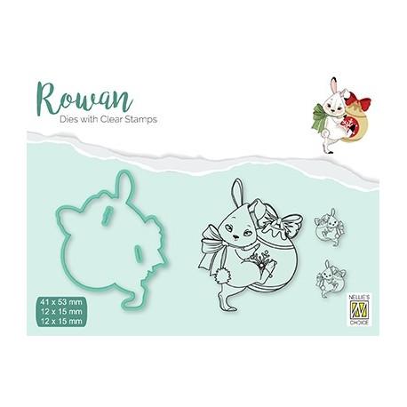 Set razítka a šablony Rowan - vánoční zajíc (Nellie´s Choice)