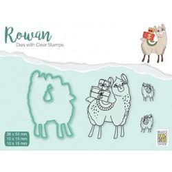 Set razítka a šablony Rowan - vánoční lama (Nellie´s Choice)