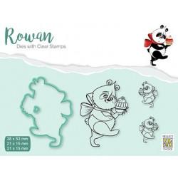 Set razítka a šablony Rowan - vánoční panda (Nellie´s Choice)