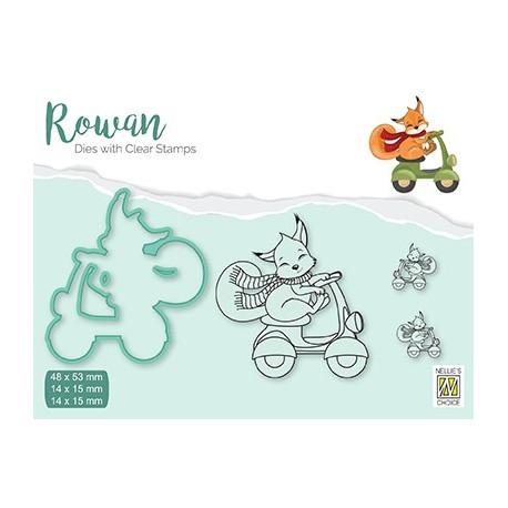 Set razítka a šablony Rowan - vánoční liška (Nellie´s Choice)