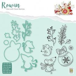 Set razítek a šablon Rowan - vánoční myšky 1 (Nellie´s Choice)