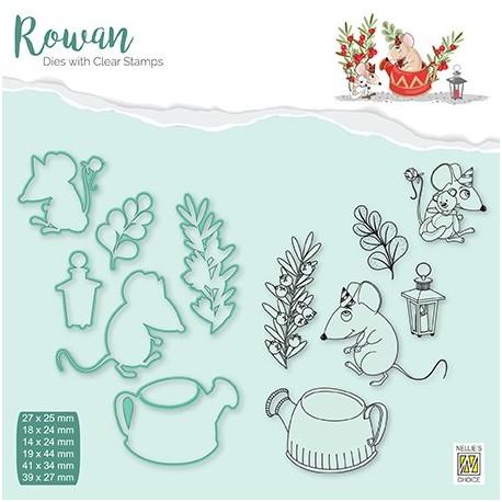 Set razítek a šablon Rowan - vánoční myšky 2 (Nellie´s Choice)