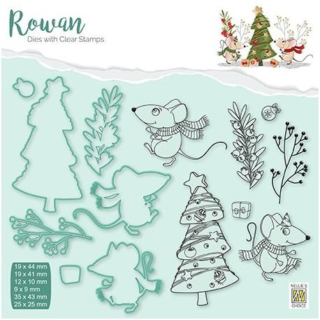 Set razítek a šablon Rowan - vánoční myšky 3 (Nellie´s Choice)