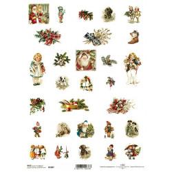 Papír rýžový A4 Malé vánoční obrázky, s dětmi a zvířátky