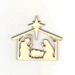 Dřevěná dekorace - Betlém 7,5cm