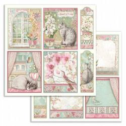 Orchids and Cats, obrázky, visačky 30,5x30,5 scrapbook