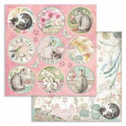 Orchids and Cats, kulaté obrázky 30,5x30,5 scrapbook