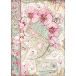 Papír rýžový A4 Orchids and Cats, růžová orchidej