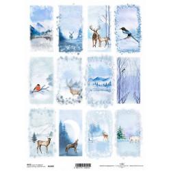 Papír rýžový A4 Zimní obrázky, ptáci, zvířata