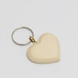 Přívěsek na klíče - dřevěné srdíčko 3,5cm