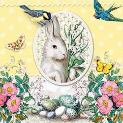 Bílý zajíc, žluté pozadí 33x33