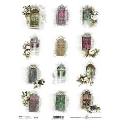 Papír rýžový A4 Nostalgie, dveře s bílými květy