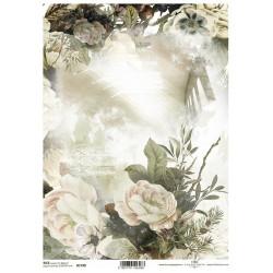 Papír rýžový A4 Nostalgie, bílé květy, pozadí s oknem