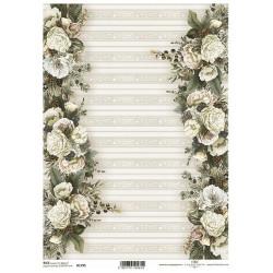 Papír rýžový A4 Nostalgie, květinové bordury na okrajích