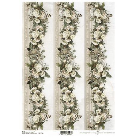 Papír rýžový A4 Nostalgie, pruhy s květinami