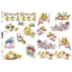 Papír rýžový A4 Velikonoční s kuřátky a růžovými květy