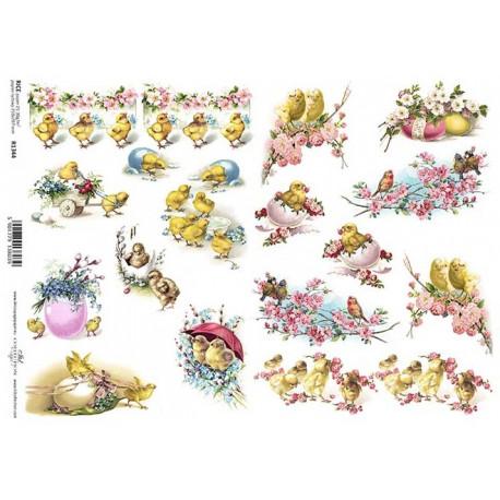 Papír rýžový A4 Velikonoční s kuřátky a růžovými k