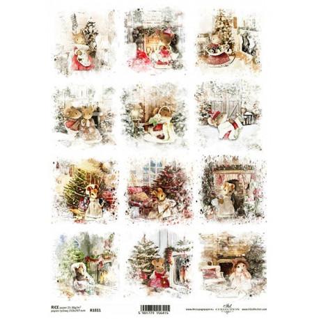 Papír rýžový A4 Malé vánoční obrázky, s myškami