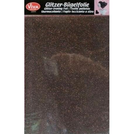 Nažehlovací glittrová fólie A5 Tmavě hnědá (F)