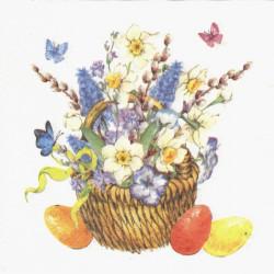 Košík s jarními květy 33x33