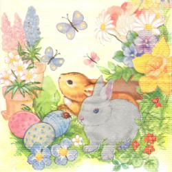 Malí králíčci mezi květinami 33x33