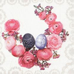 Kraslice a růžové květy 33x33