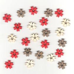 Dřev.dekorace - kytky barevné, 2cm, 24ks