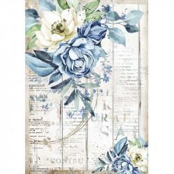 Papír rýžový A4 Sea Dreams, modré a bílé květy