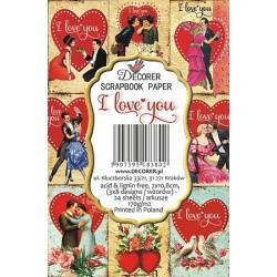 Sada scrap.kartiček 7x10,8cm - I Love You (Decorer)
