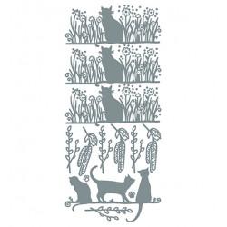 Samolepky obrysové Kočky na jaře - stříbrné