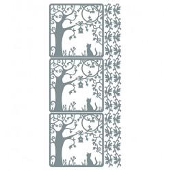 Samolepky obrysové Kočka pod stromem - stříbrné