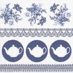 Čajové konvičky na modré 33x33