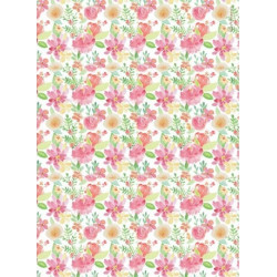 Papír rýžový A4 Circle of Love, květy akvarel