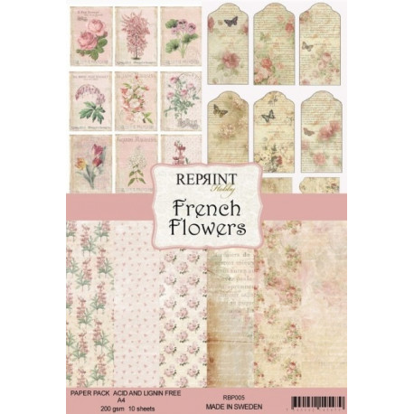 Sada papírů A4 200g French Flowers (REPRINT)