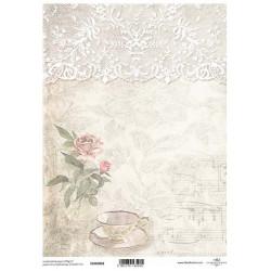Papír pro scrapbook 200g A4 - krajka, růže
