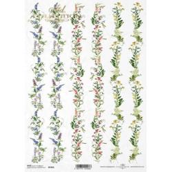 Papír rýžový A4 Bordury z popínavých květů