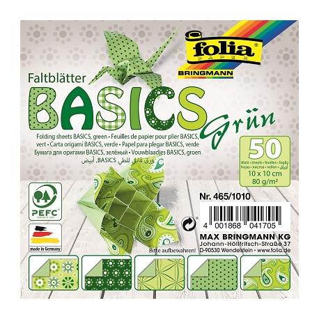 Origami papírky 10x10cm Basic zelený