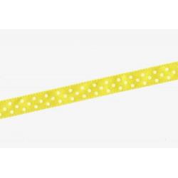 Saténová stuha s puntíky, 10mm - žlutá