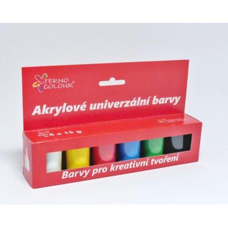 Sada akrylových barev 6x15g, základní odstíny